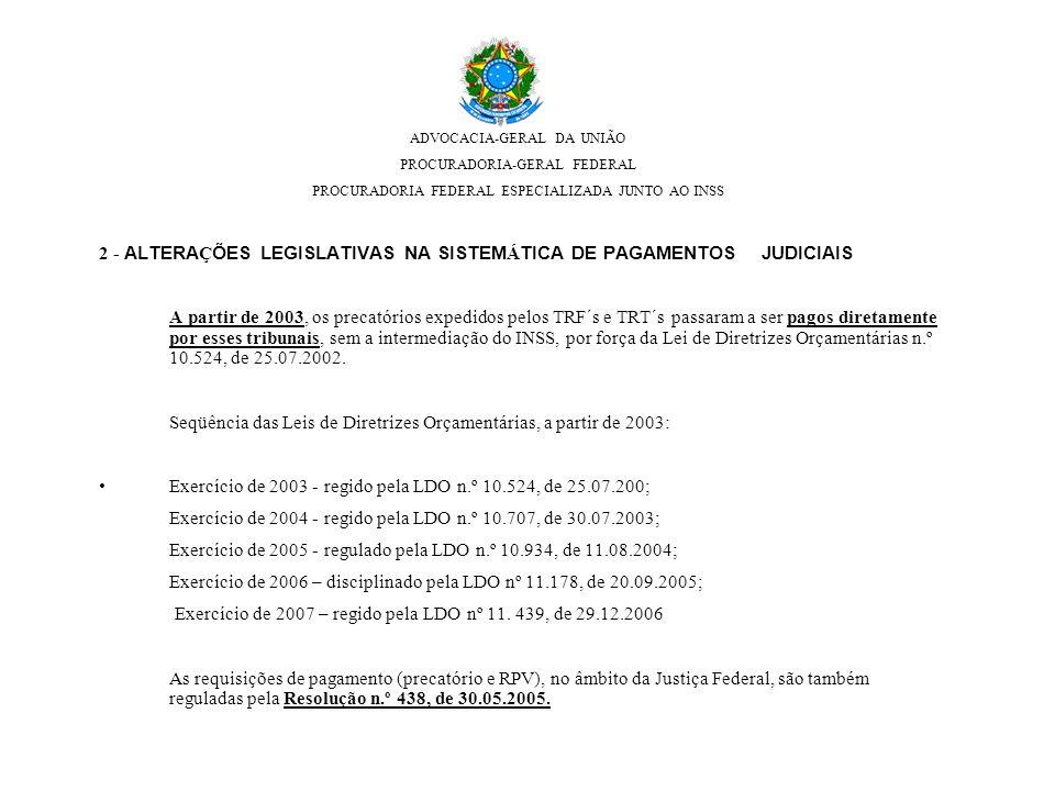 2 - ALTERAÇÕES LEGISLATIVAS NA SISTEMÁTICA DE PAGAMENTOS JUDICIAIS