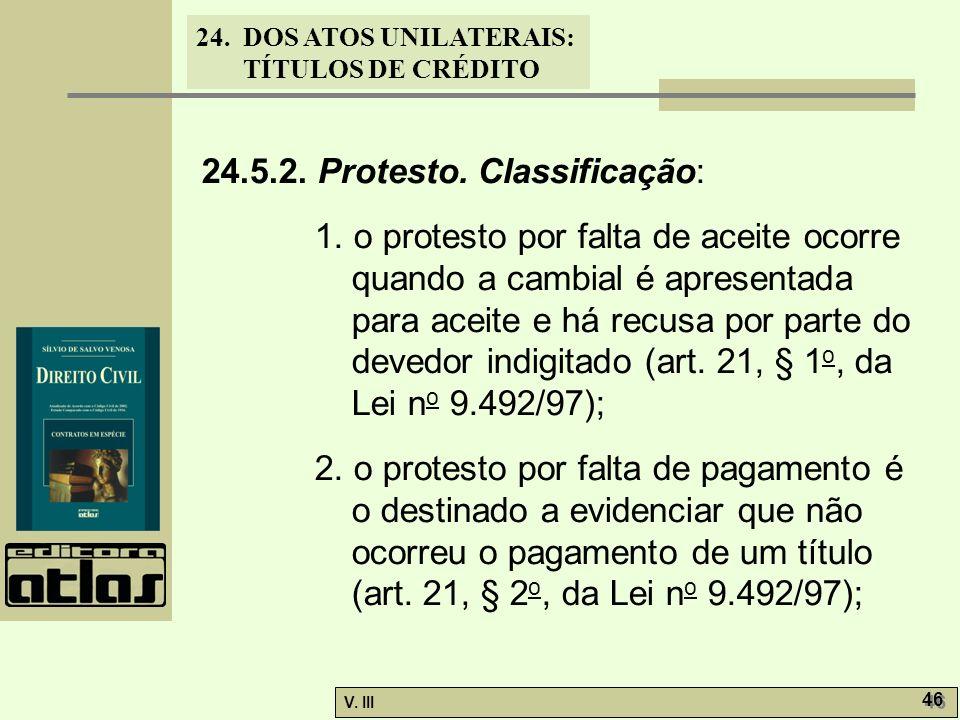 24.5.2. Protesto. Classificação: