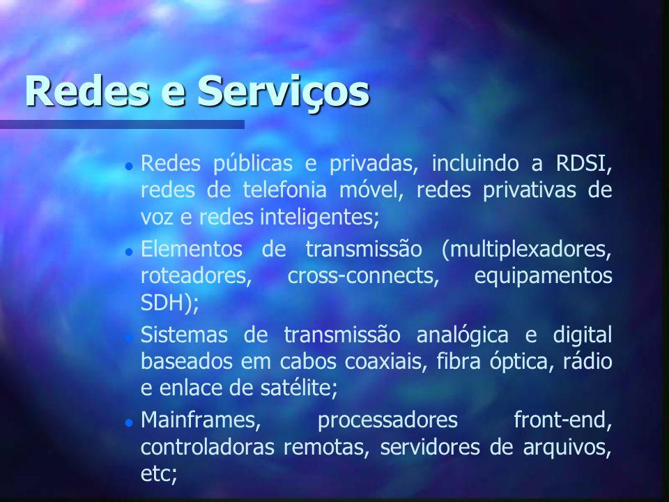 Redes e Serviços Redes públicas e privadas, incluindo a RDSI, redes de telefonia móvel, redes privativas de voz e redes inteligentes;