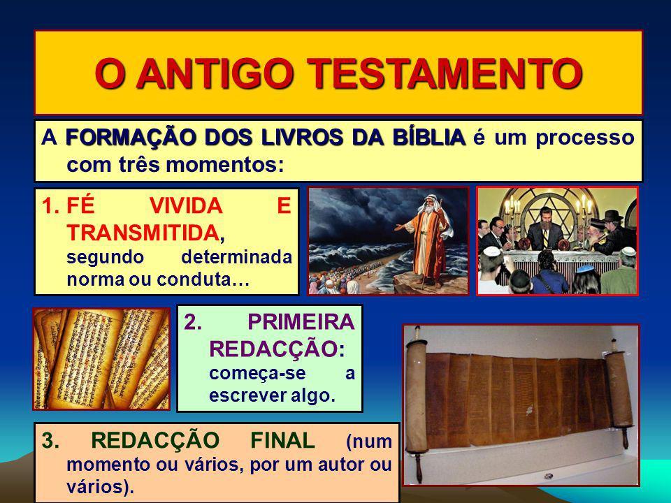 O ANTIGO TESTAMENTO A FORMAÇÃO DOS LIVROS DA BÍBLIA é um processo com três momentos: FÉ VIVIDA E TRANSMITIDA, segundo determinada norma ou conduta…