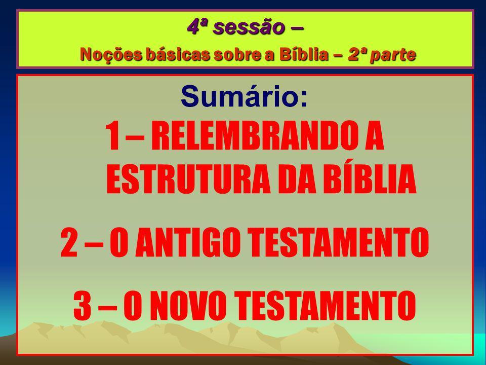 4ª sessão – Noções básicas sobre a Bíblia – 2ª parte