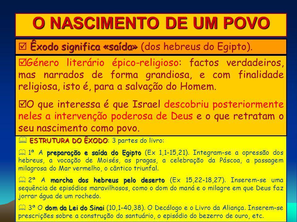 O NASCIMENTO DE UM POVO  Êxodo significa «saída» (dos hebreus do Egipto).