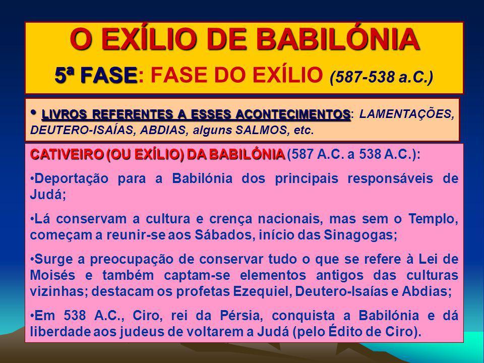O EXÍLIO DE BABILÓNIA 5ª FASE: FASE DO EXÍLIO (587-538 a.C.)