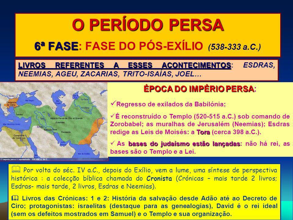 O PERÍODO PERSA 6ª FASE: FASE DO PÓS-EXÍLIO (538-333 a.C.)
