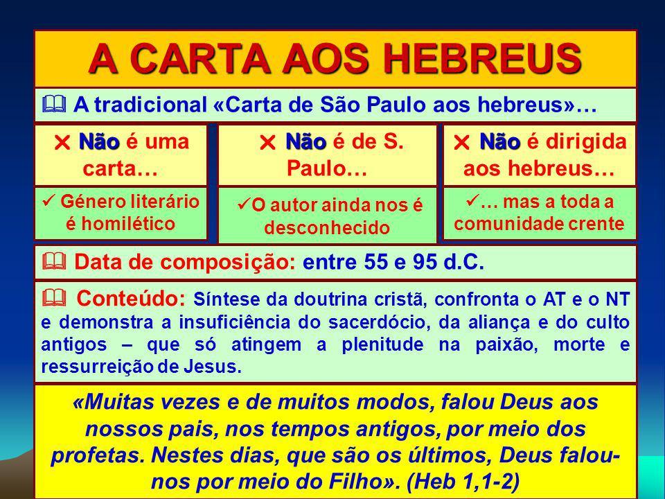 A CARTA AOS HEBREUS  A tradicional «Carta de São Paulo aos hebreus»…