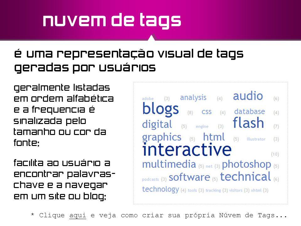 nuvem de tags é uma representação visual de tags geradas por usuários