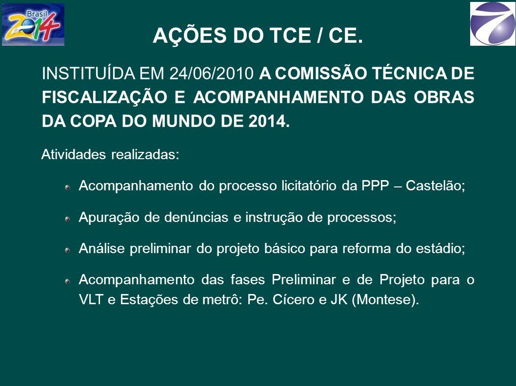 AÇÕES DO TCE / CE. INSTITUÍDA EM 24/06/2010 A COMISSÃO TÉCNICA DE FISCALIZAÇÃO E ACOMPANHAMENTO DAS OBRAS DA COPA DO MUNDO DE 2014.