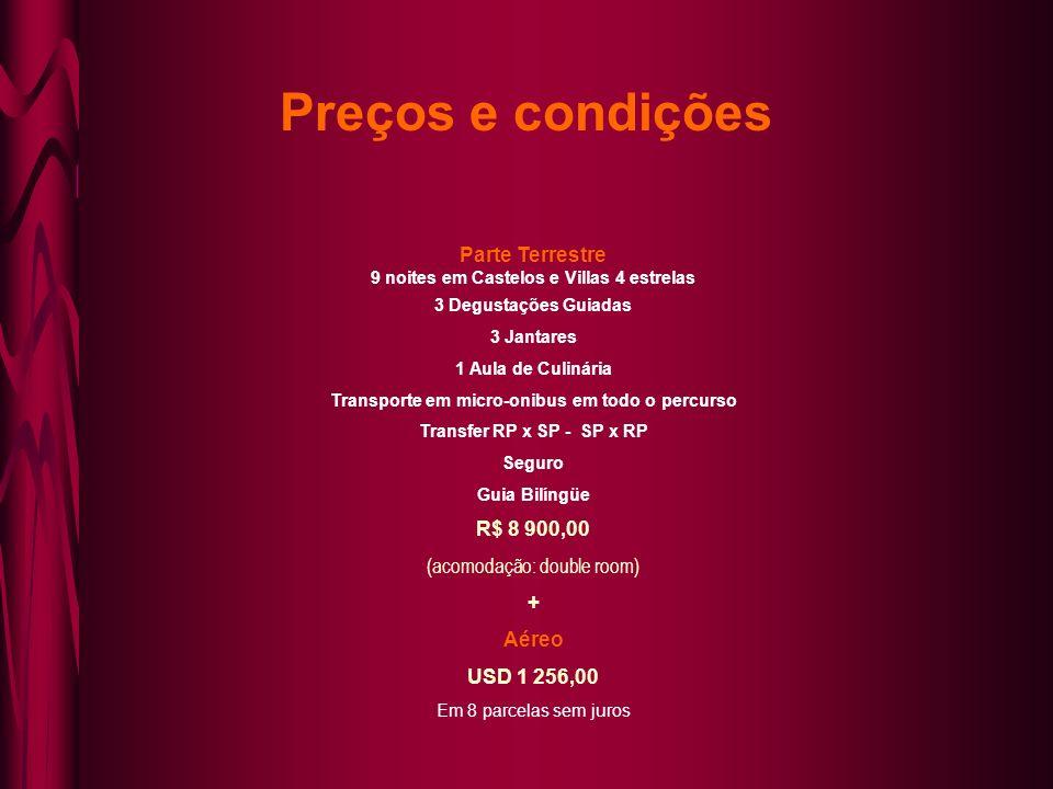 Preços e condições Parte Terrestre R$ 8 900,00