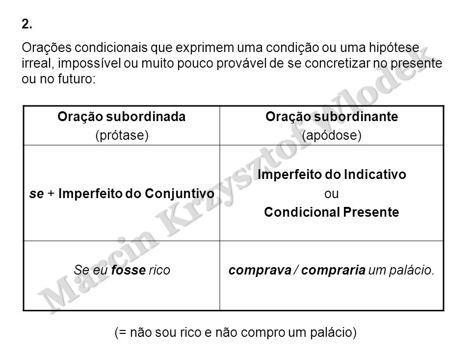 se + Imperfeito do Conjuntivo Imperfeito do Indicativo ou