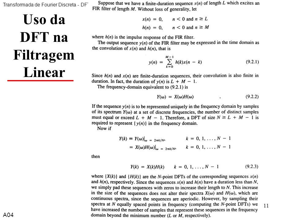 Uso da DFT na Filtragem Linear