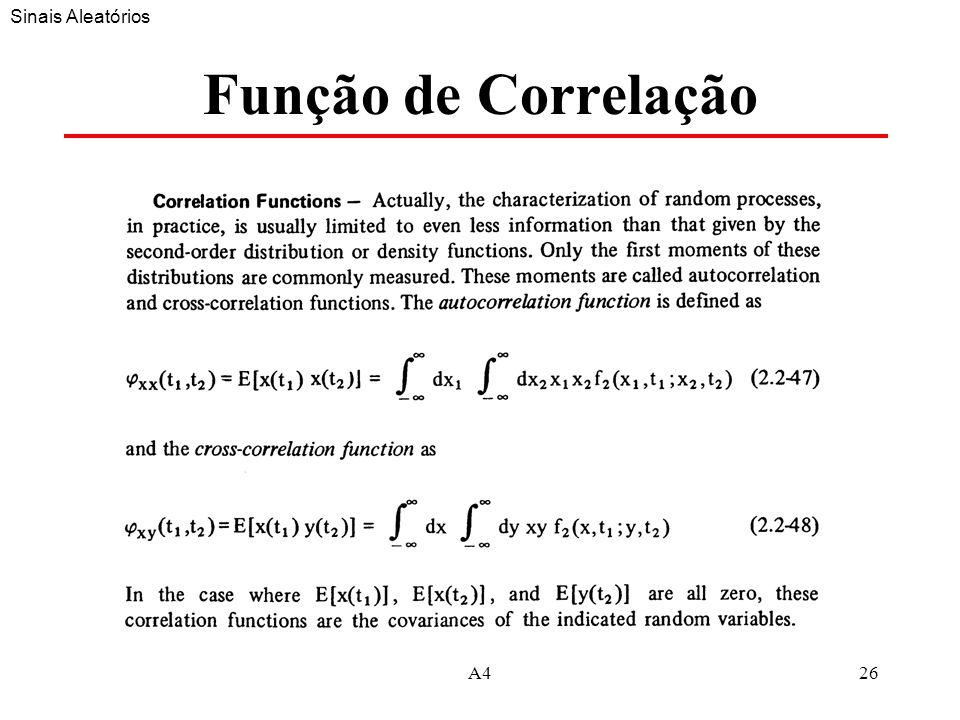 Sinais Aleatórios Função de Correlação A4