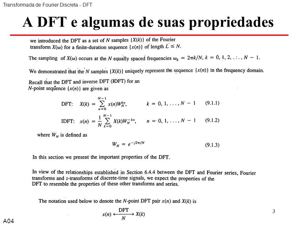 A DFT e algumas de suas propriedades
