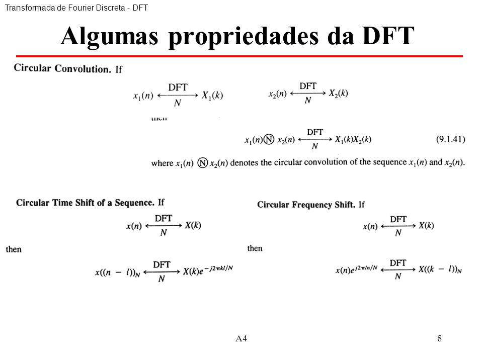 Algumas propriedades da DFT