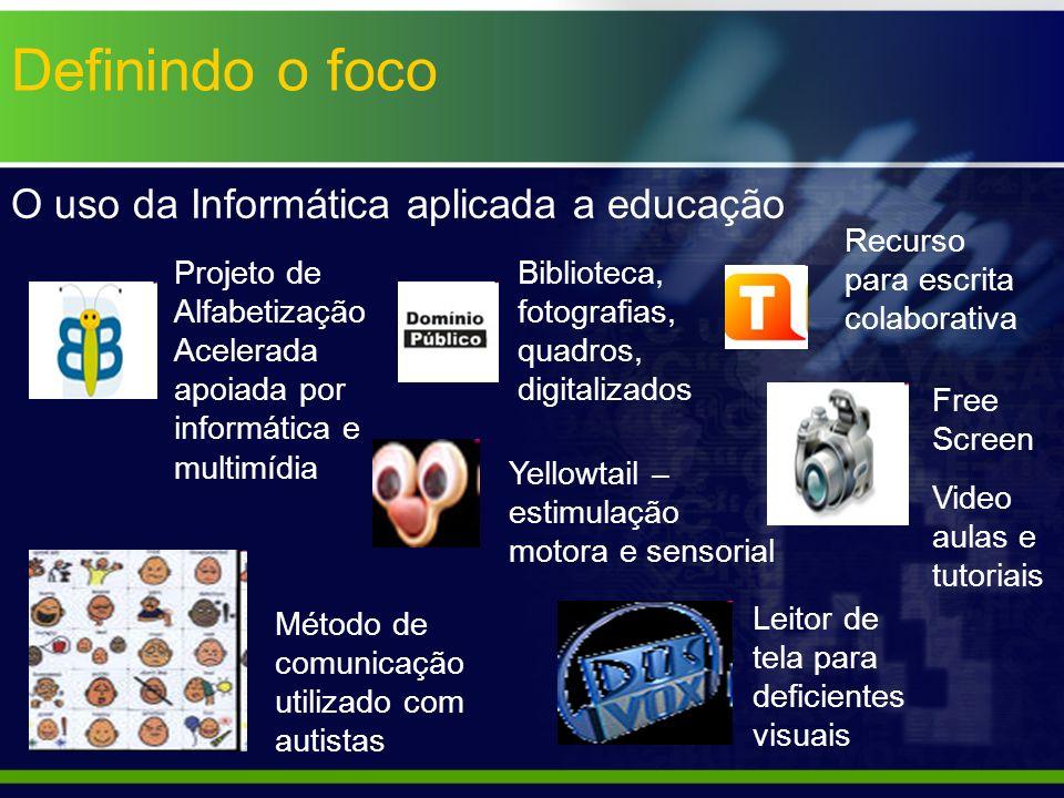 Definindo o foco O uso da Informática aplicada a educação