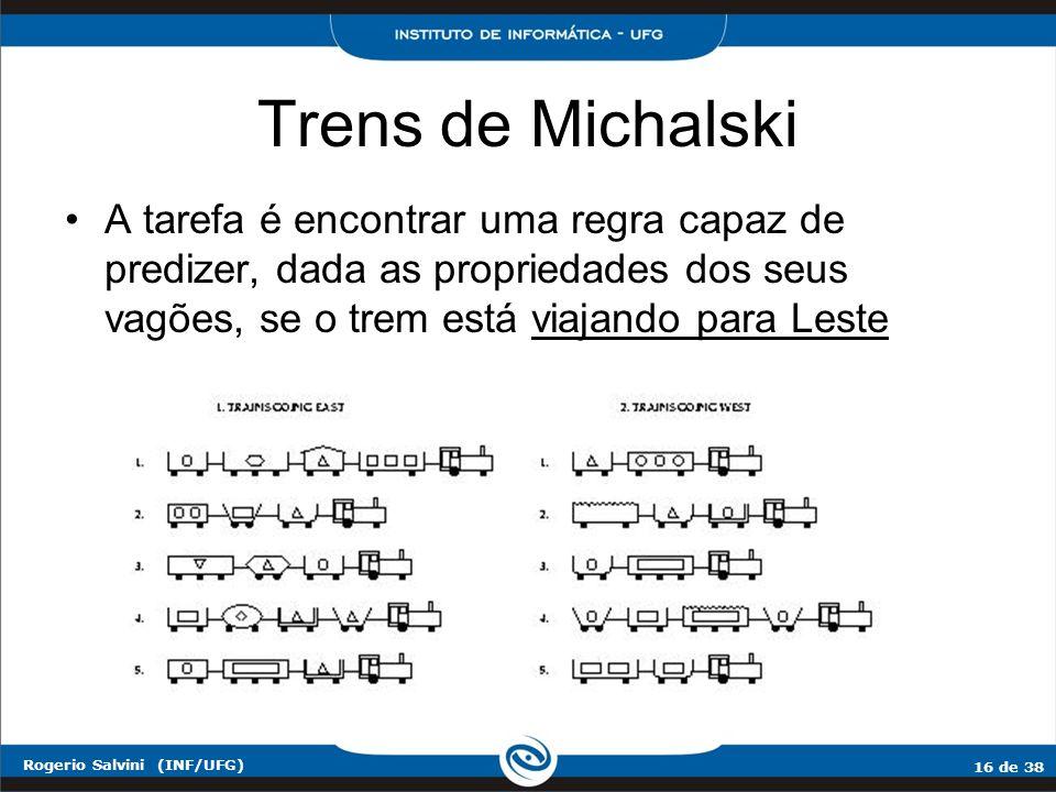 Trens de Michalski A tarefa é encontrar uma regra capaz de predizer, dada as propriedades dos seus vagões, se o trem está viajando para Leste.