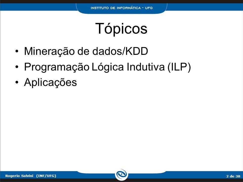 Tópicos Mineração de dados/KDD Programação Lógica Indutiva (ILP)