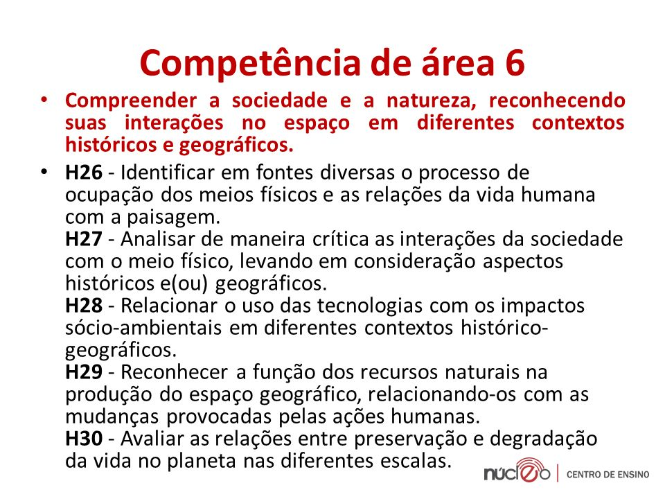 Competência de área 6 Compreender a sociedade e a natureza, reconhecendo suas interações no espaço em diferentes contextos históricos e geográficos.