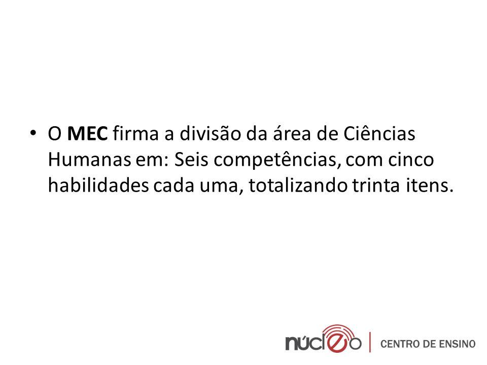 O MEC firma a divisão da área de Ciências Humanas em: Seis competências, com cinco habilidades cada uma, totalizando trinta itens.