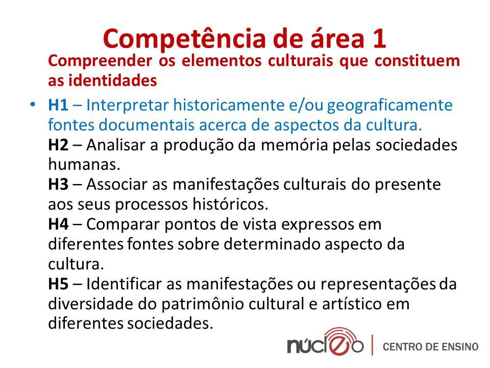 Competência de área 1 Compreender os elementos culturais que constituem as identidades.