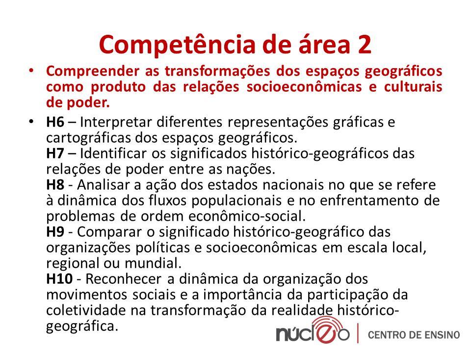 Competência de área 2 Compreender as transformações dos espaços geográficos como produto das relações socioeconômicas e culturais de poder.