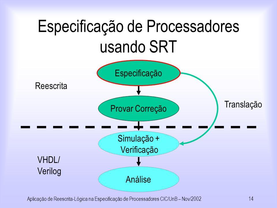 Especificação de Processadores usando SRT