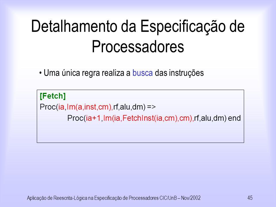 Detalhamento da Especificação de Processadores