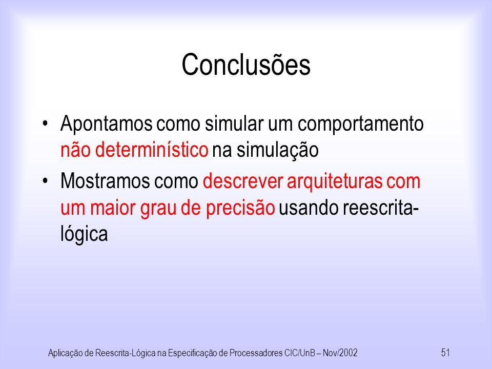 Conclusões Apontamos como simular um comportamento não determinístico na simulação.