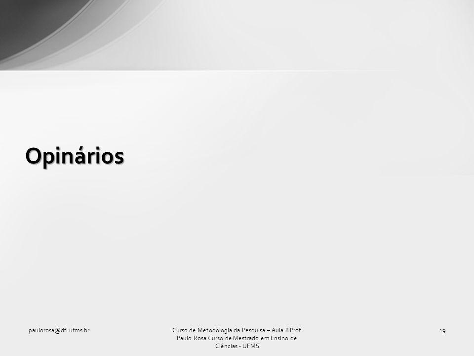 Opinários paulorosa@dfi.ufms.br
