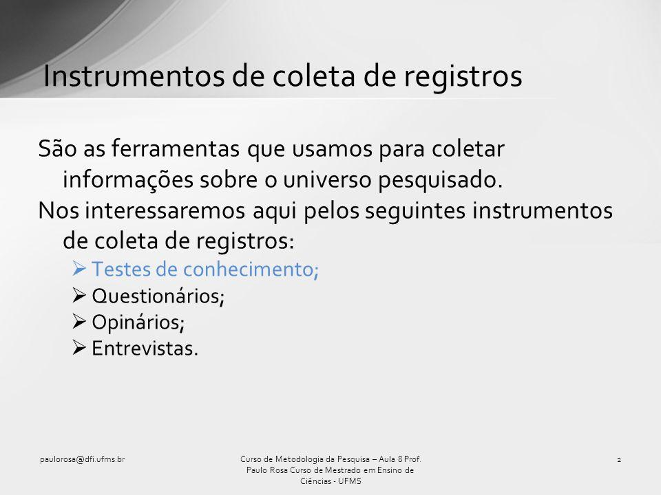 Instrumentos de coleta de registros