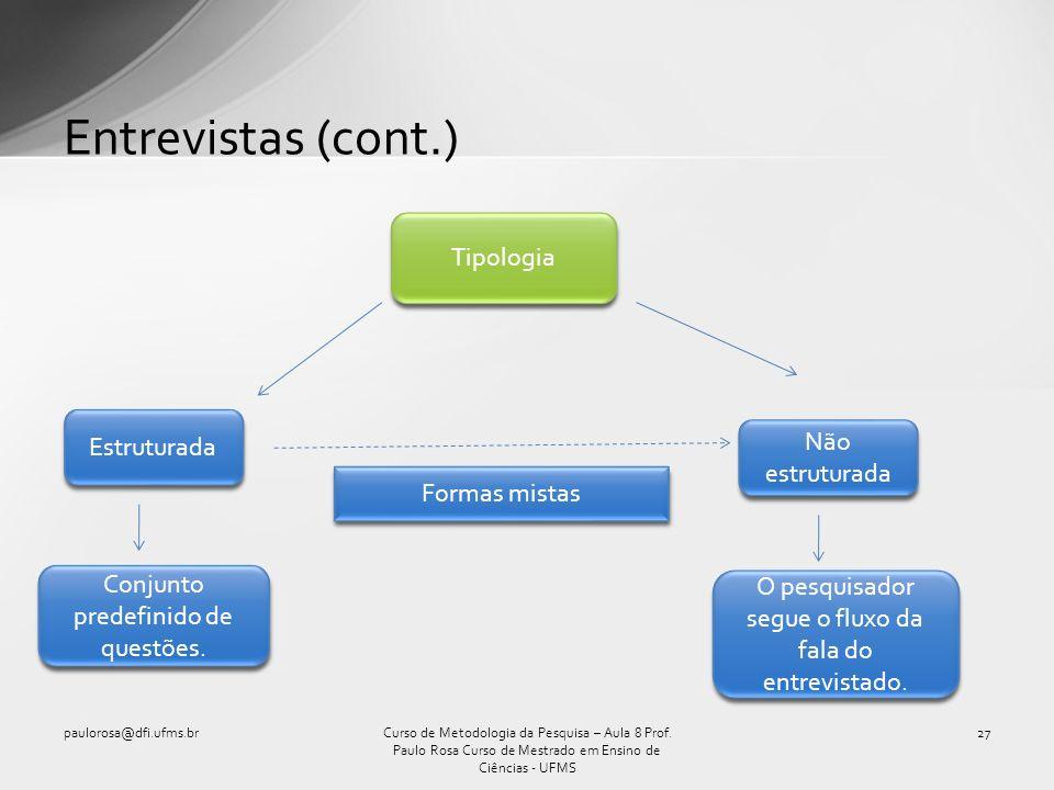Entrevistas (cont.) Tipologia Estruturada Não estruturada