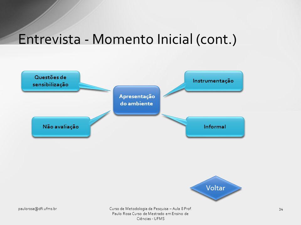 Entrevista - Momento Inicial (cont.)