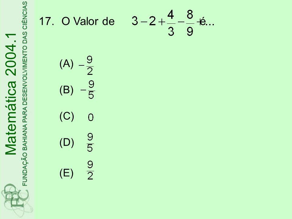O Valor de é (A) (B) (C) (D) (E) Matemática 2004.1