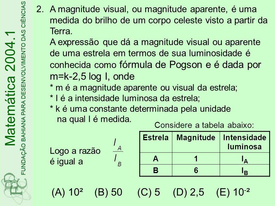 Matemática 2004.1 (A) 10² (B) 50 (C) 5 (D) 2,5 (E) 10-²