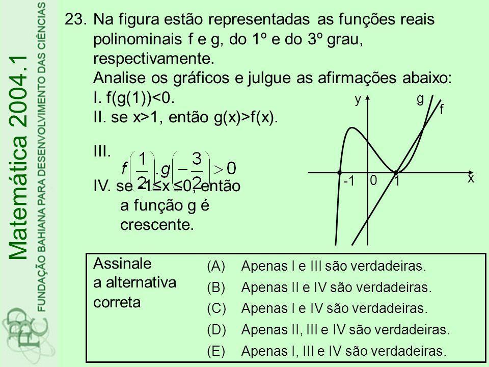 Na figura estão representadas as funções reais polinominais f e g, do 1º e do 3º grau, respectivamente. Analise os gráficos e julgue as afirmações abaixo: I. f(g(1))<0. II. se x>1, então g(x)>f(x). III. IV. se -1≤x ≤0, então a função g é crescente. Assinale a alternativa correta