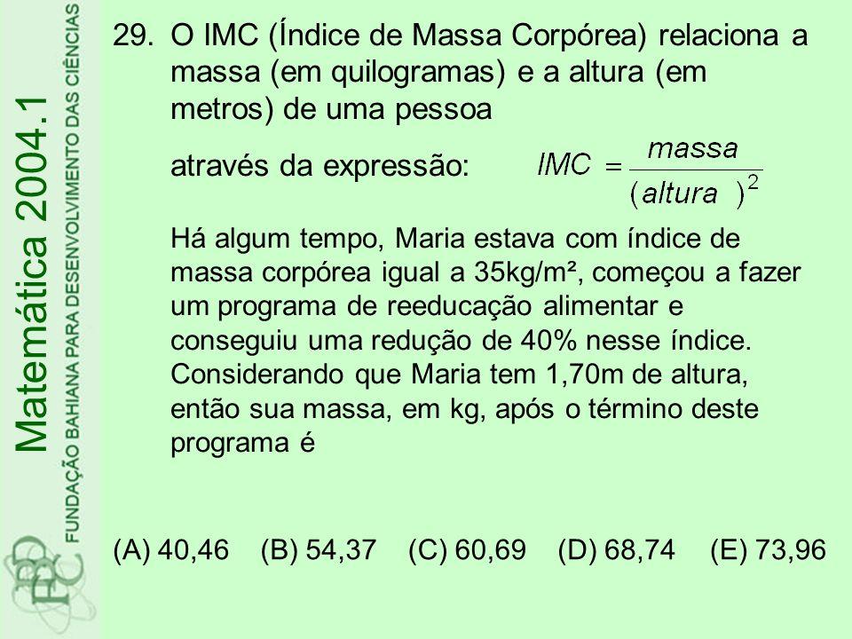 O IMC (Índice de Massa Corpórea) relaciona a massa (em quilogramas) e a altura (em metros) de uma pessoa através da expressão: Há algum tempo, Maria estava com índice de massa corpórea igual a 35kg/m², começou a fazer um programa de reeducação alimentar e conseguiu uma redução de 40% nesse índice. Considerando que Maria tem 1,70m de altura, então sua massa, em kg, após o término deste programa é