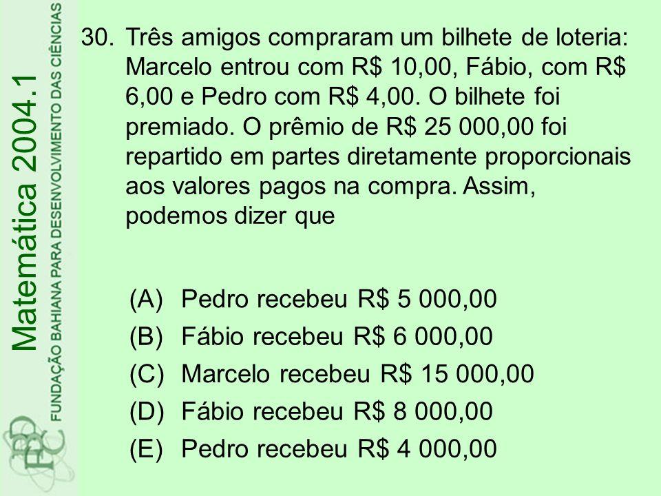 Matemática 2004.1 (A) Pedro recebeu R$ 5 000,00 (B)