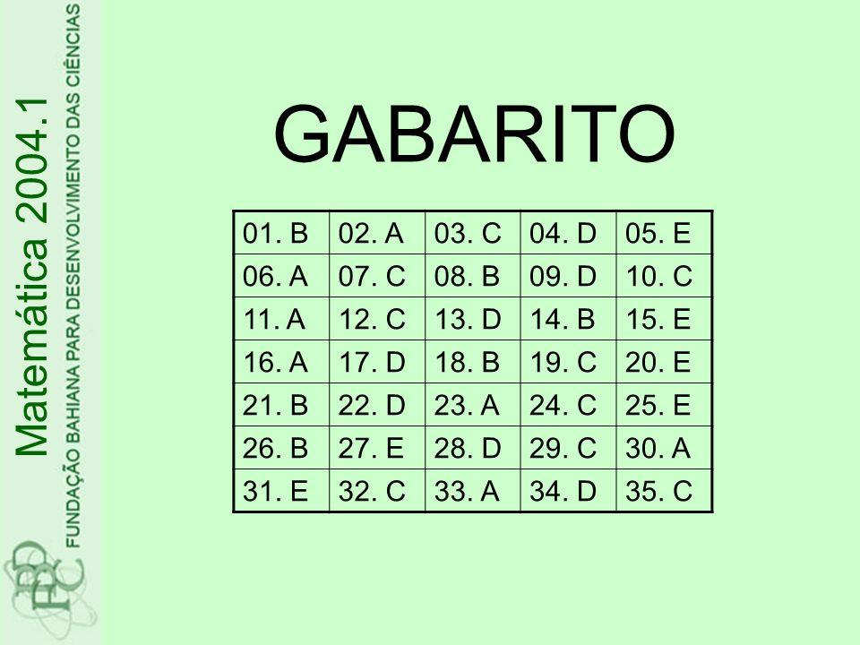 GABARITO Matemática 2004.1 01. B 02. A 03. C 04. D 05. E 06. A 07. C