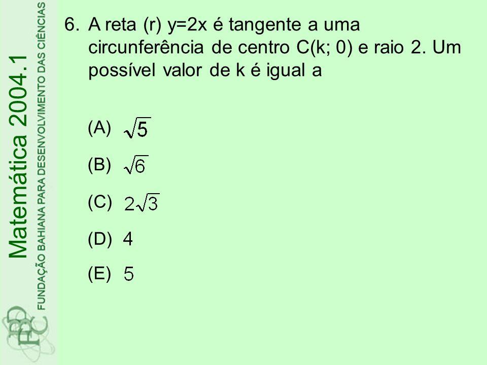 A reta (r) y=2x é tangente a uma circunferência de centro C(k; 0) e raio 2. Um possível valor de k é igual a