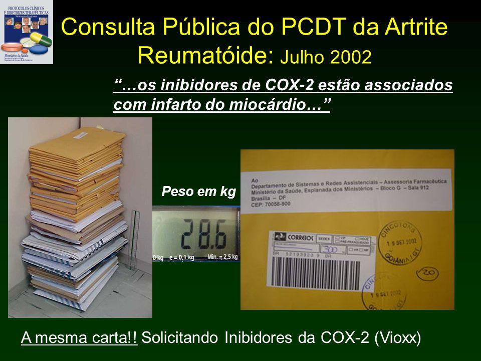 Consulta Pública do PCDT da Artrite Reumatóide: Julho 2002