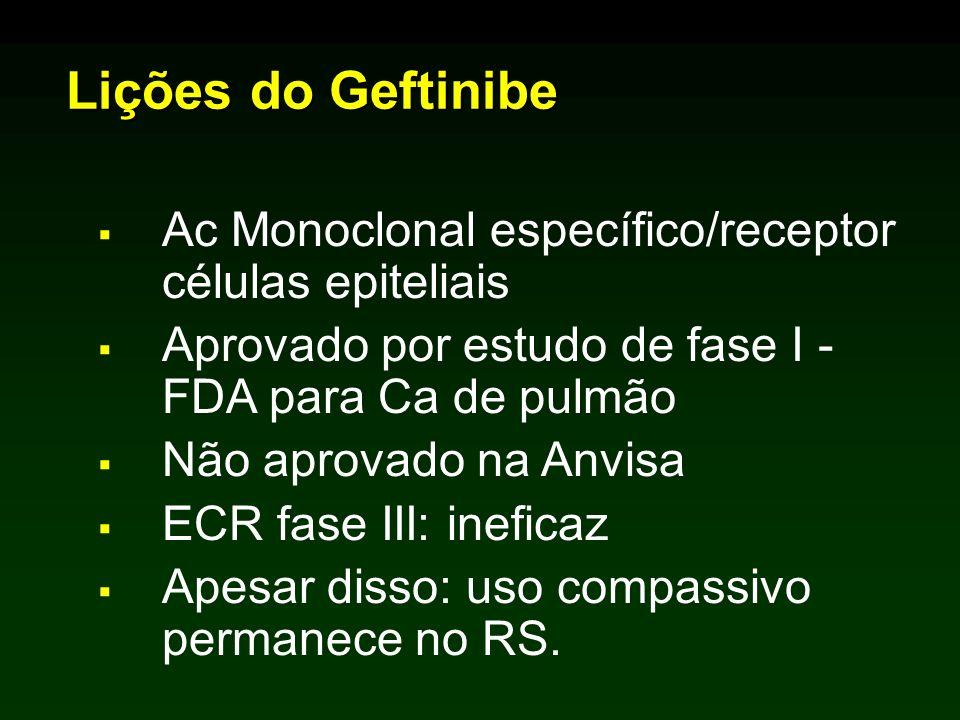 Lições do Geftinibe Ac Monoclonal específico/receptor células epiteliais. Aprovado por estudo de fase I - FDA para Ca de pulmão.