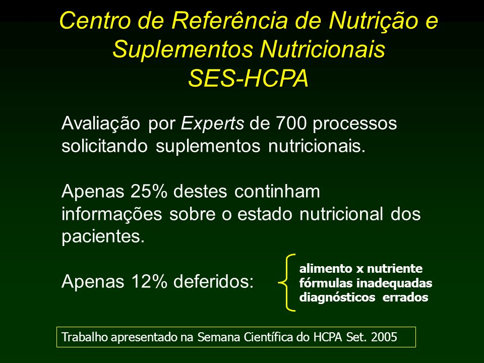 Centro de Referência de Nutrição e Suplementos Nutricionais SES-HCPA