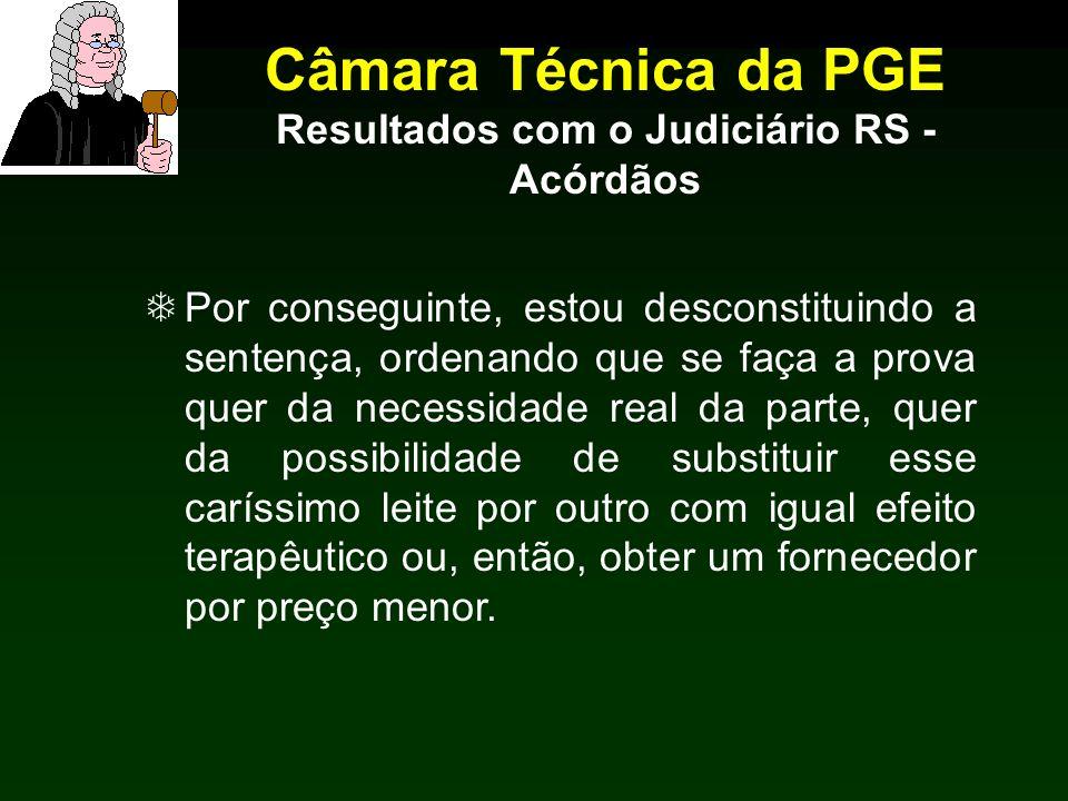 Câmara Técnica da PGE Resultados com o Judiciário RS - Acórdãos