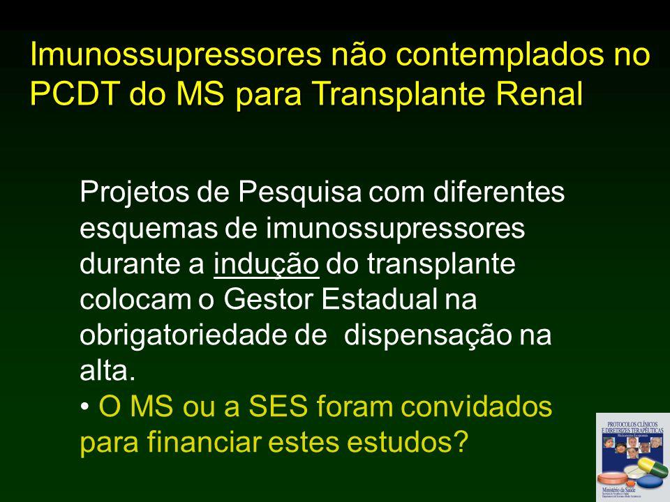 Imunossupressores não contemplados no PCDT do MS para Transplante Renal