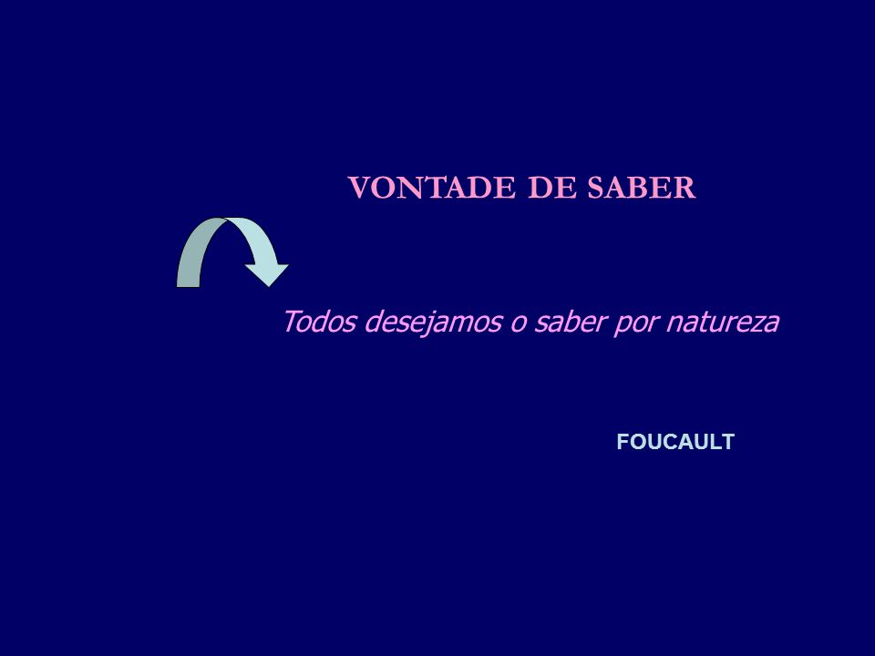 VONTADE DE SABER Todos desejamos o saber por natureza FOUCAULT