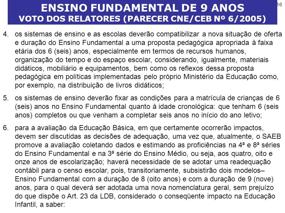 ENSINO FUNDAMENTAL DE 9 ANOS VOTO DOS RELATORES (PARECER CNE/CEB Nº 6/2005)