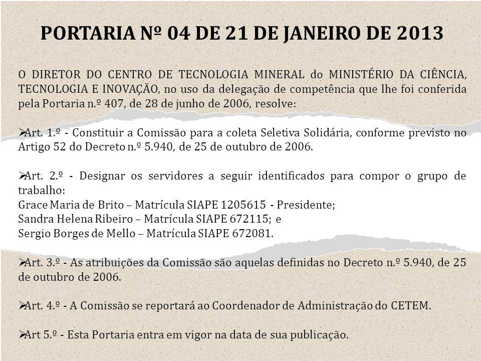 PORTARIA Nº 04 DE 21 DE JANEIRO DE 2013