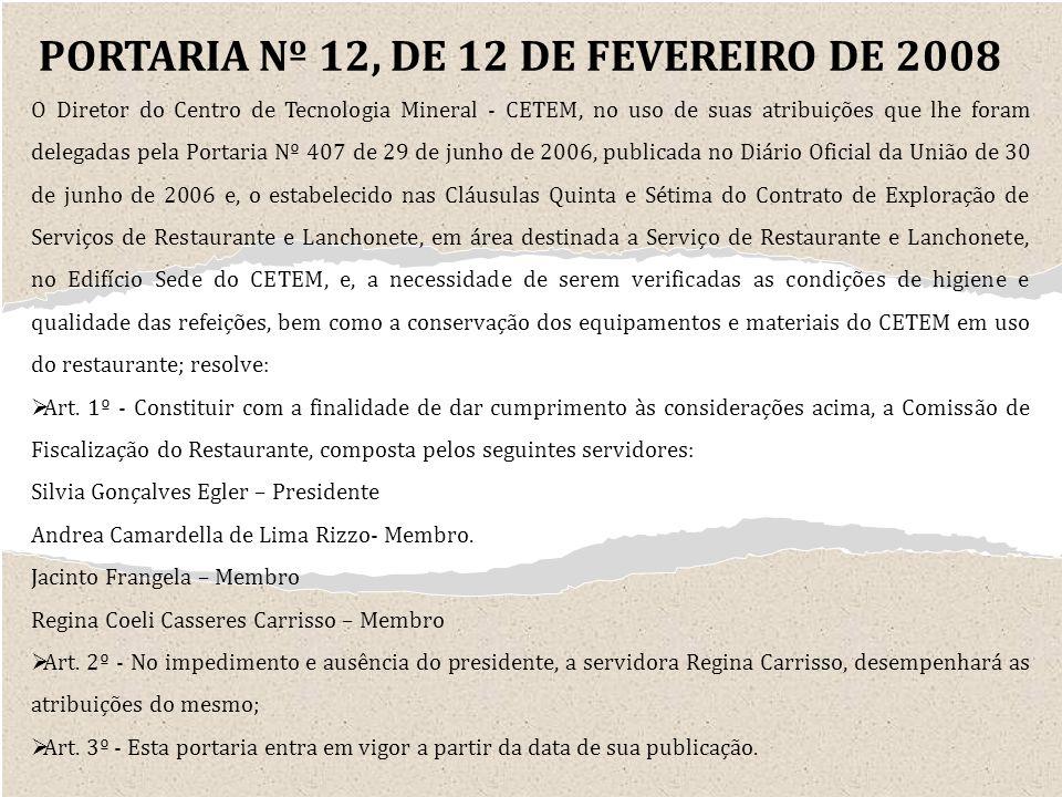 PORTARIA Nº 12, DE 12 DE FEVEREIRO DE 2008