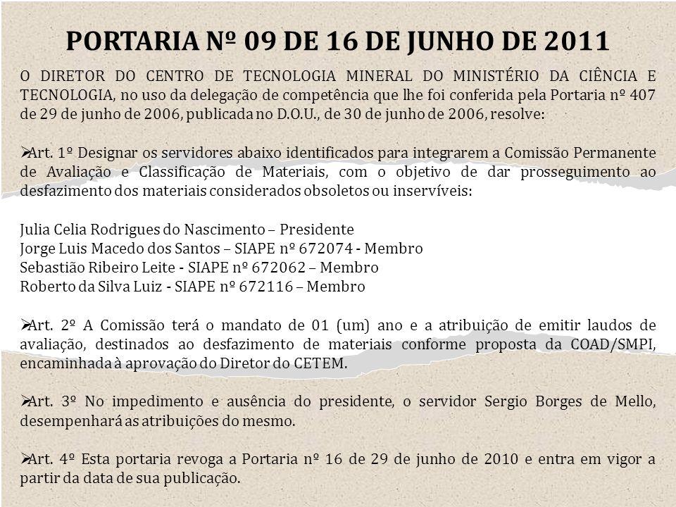 PORTARIA Nº 09 DE 16 DE JUNHO DE 2011