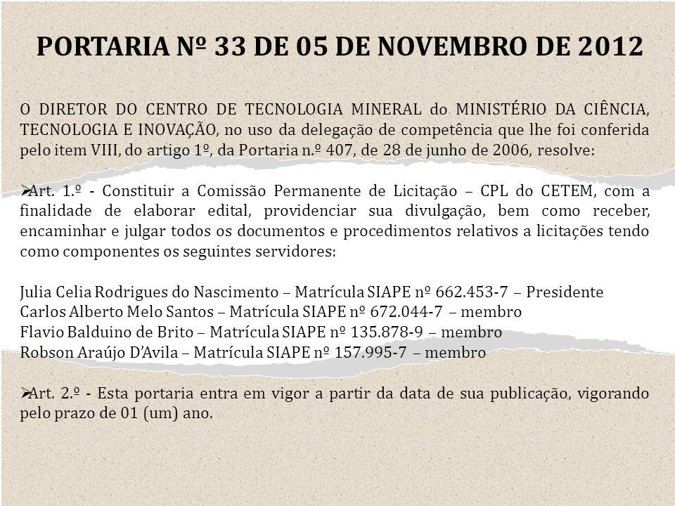 PORTARIA Nº 33 DE 05 DE NOVEMBRO DE 2012