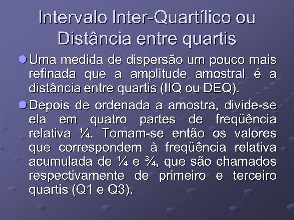 Intervalo Inter-Quartílico ou Distância entre quartis